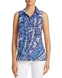 Sioni Tie Dye Sleeveless High Low Shirt Compare At 58 Blue