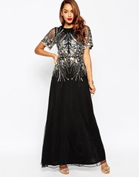 Asos Red Carpet Gold And Black Sparkle Mesh Maxi Dress