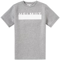 Helmut Lang Short Sleeve Logo Crew Sweat Grey