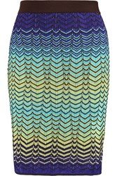 M Missoni Crochet Knit Cotton Blend Skirt Blue