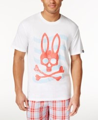 Psycho Bunny Men's Sleepwear Graphic Print Logo T Shirt White Wave