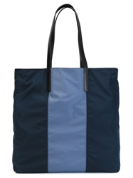 Burberry Striped Shopping Bag Blue