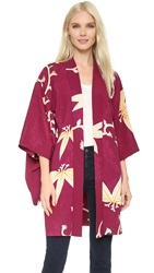 Wgaca Printed Kimono Previously Owned Blue Red White