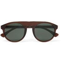 Dries Van Noten Linda Farrow Round Frame Acetate Sunglasses Dark Brown