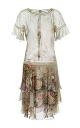 Alberta Ferretti Tiered Chiffon Short Dress Print
