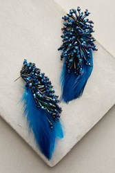 Anthropologie Delaney Blue Feather Drops