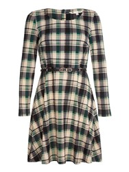 Yumi Green Check Knit Belt Dress Green