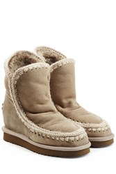 Mou Eskimo Wedge Short Sheepskin Boots Beige