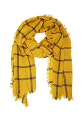 Forever 21 Men Gingham Pattern Woven Scarf Mustard Navy