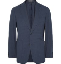 Richard James Blue Spirit Slim Fit Gingham Stretch Cotton Seersucker Blazer Navy