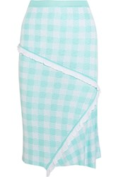 Sibling Gingham Intarsia Knitted Skirt Blue