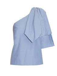 Rosie Assoulin Hustle And Bustle One Shoulder Cotton Top Light Blue