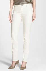 Lafayette 148 New York Women's Waxed Denim Slim Leg Jeans Ecru