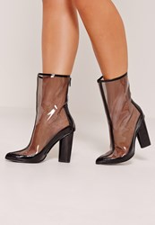 Missguided Perspex Pointed Toe Ankle Boots Black Black