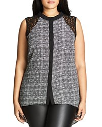 City Chic Lace Yoke Graphic Print Shirt Black