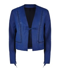 Elie Tahari Tamara Leather Fringe Jacket Female Blue