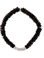 Tateossian Disk Beaded Bracelet Brown
