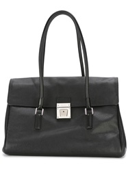 Serapian Lock Fastening Tote Bag Black