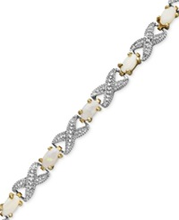Victoria Townsend 18K Gold Over Sterling Silver Bracelet Opal 2 Ct. T.W. And Diamond Accent Bracelet