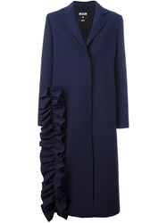 Msgm Ruffle Detail Coat Blue