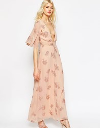 Asos Flutter Sleeve Maxi Dress With Pretty Florals Nude Pink