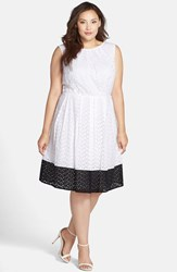 Plus Size Women's London Times Colorblock Eyelet Cotton Fit And Flare Dress