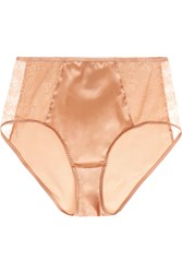 Eres Charivari Leavers Lace Paneled Stretch Satin Briefs Sand