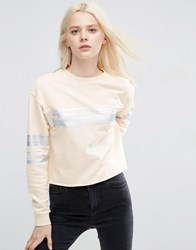 Asos Sweatshirt With Metallic Block Stripe In Boxy Fit Nude Pink
