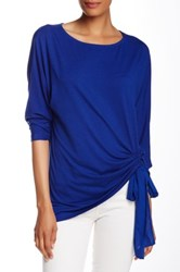 Kikit Elbow Length Sleeve Shirred Side Tie Tee Blue
