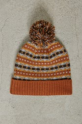 Forever 21 Men Fair Isle Pom Pom Beanie Grey Orange