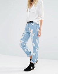 Noisy May Girlfriend Ankle Grazer Jeans With All Over Rips And Stars Light Blue