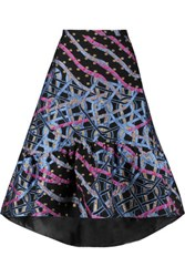 Peter Pilotto Circuit Jacquard And Metallic Brocade Midi Skirt Navy