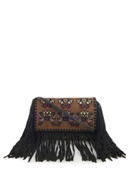 Isabel Marant Shiloh Fringed Embroidered Suede Clutch