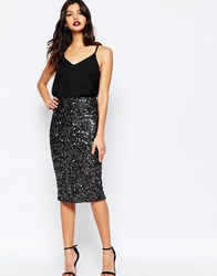 Warehouse Tinsel Sequin Skirt Grey