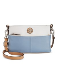 Giani Bernini Pebble Leather Colorblock Crossbody Chambray White