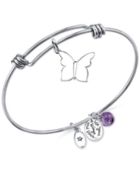 Unwritten 'Use Your Wings And Soar' Butterfly Charm And Amethyst 8Mm Bangle Bracelet In Stainless Steel