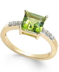 Macy's Peridot 1 3 4 Ct. T.W. And Diamond Accent Ring In 14K Gold