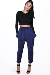 Boohoo Turn Up Tie Waist Cargo Trousers Navy