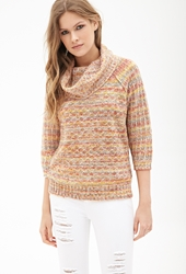 Forever 21 Textured Stripe Cowl Neck Sweater