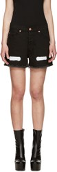 Off White Black Frayed Denim Short