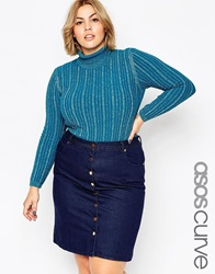 Asos Curve Turtle Neck Jumper In Sparkle Rib Blue