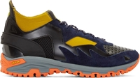 Kolor Navy Neoprene And Leather Sneakers