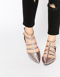 Asos Lookout Caged Pointed Ballet Flats Silver