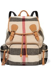 Burberry Prorsum Medium Leather Trimmed Checked Felt Backpack Gray