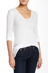James Perse Extra Long Skinny Deep V Neck Tee White