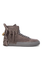 Buscemi 125Mm Fringe High Top Leather Sneakers In Gray