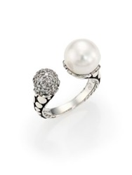 John Hardy Dot 11Mm White Pearl Diamond And Sterling Silver Wrap Ring