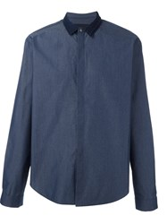 Juun.J Contrast Collar Shirt Blue