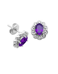 Lord And Taylor February Birthstone Sterling Silver Earrings Purple