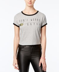 2 Kuhl Juniors' Cropped Bee Happy Graphic Ringer T Shirt Dont Worry Bee Happy
